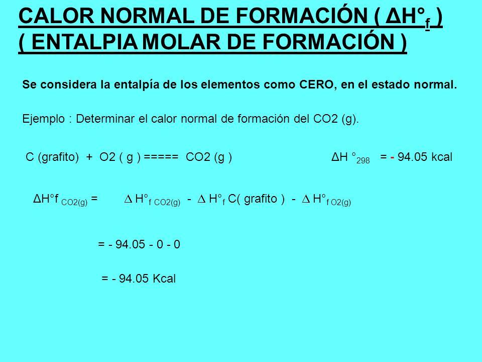 CALOR NORMAL DE COMBUSTIÓN ( Δ H° c ) ENTALPIA MOLAR DE COMBUSTIÓN El calor de combustión es la variación de entalpía, que acompaña a la combustión completa de 1 mol de compuesto orgánico para dar CO 2 (g) y H 2 O (l).