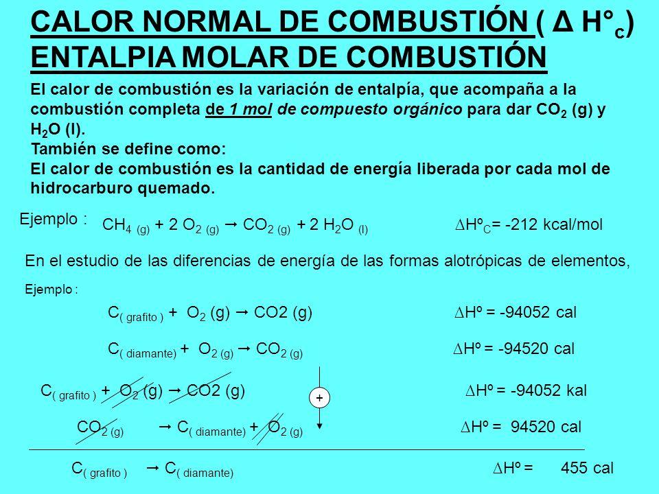 CALOR NORMAL DE COMBUSTIÓN ( Δ H° c ) ENTALPIA MOLAR DE COMBUSTIÓN El calor de combustión es la variación de entalpía, que acompaña a la combustión co