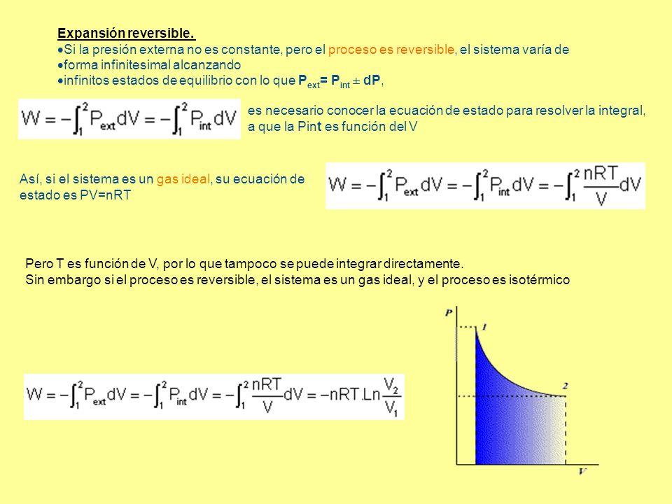 Expansión reversible. Si la presión externa no es constante, pero el proceso es reversible, el sistema varía de forma infinitesimal alcanzando infinit
