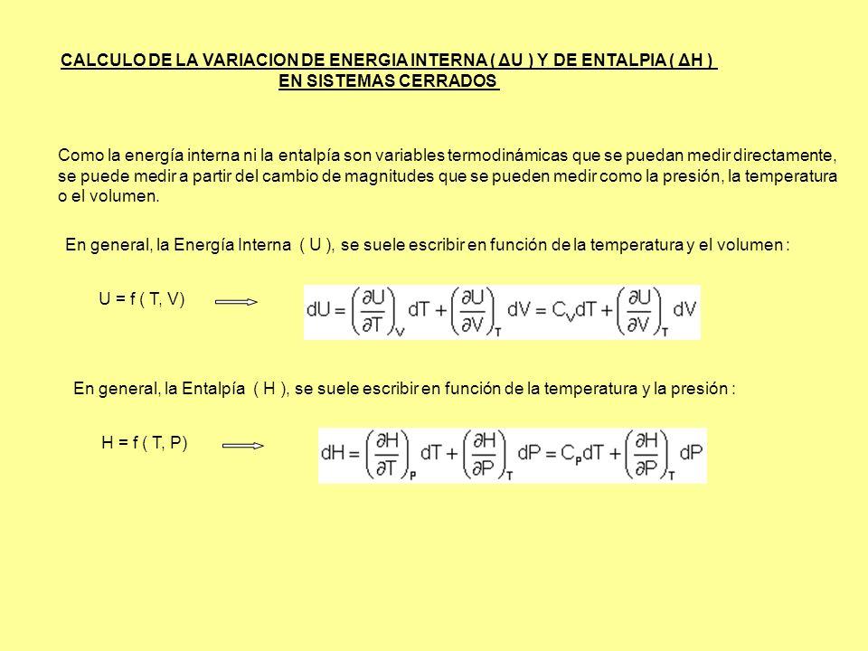 CALCULO DE LA VARIACION DE ENERGIA INTERNA ( ΔU ) Y DE ENTALPIA ( ΔH ) EN SISTEMAS CERRADOS Como la energía interna ni la entalpía son variables termo