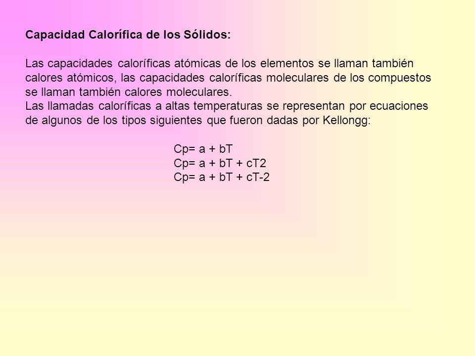 Capacidad Calorífica de los Sólidos: Las capacidades caloríficas atómicas de los elementos se llaman también calores atómicos, las capacidades caloríf