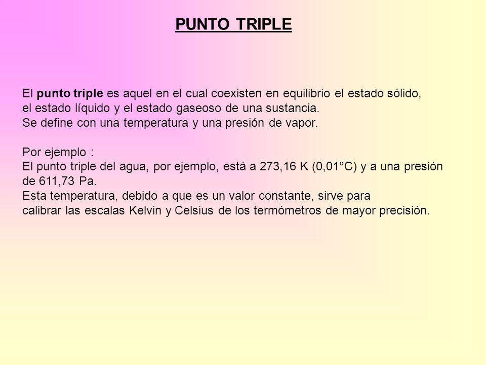 PUNTO TRIPLE El punto triple es aquel en el cual coexisten en equilibrio el estado sólido, el estado líquido y el estado gaseoso de una sustancia. Se