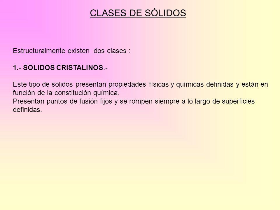 Estructuralmente existen dos clases : 1.- SOLIDOS CRISTALINOS.- Este tipo de sólidos presentan propiedades físicas y químicas definidas y están en fun