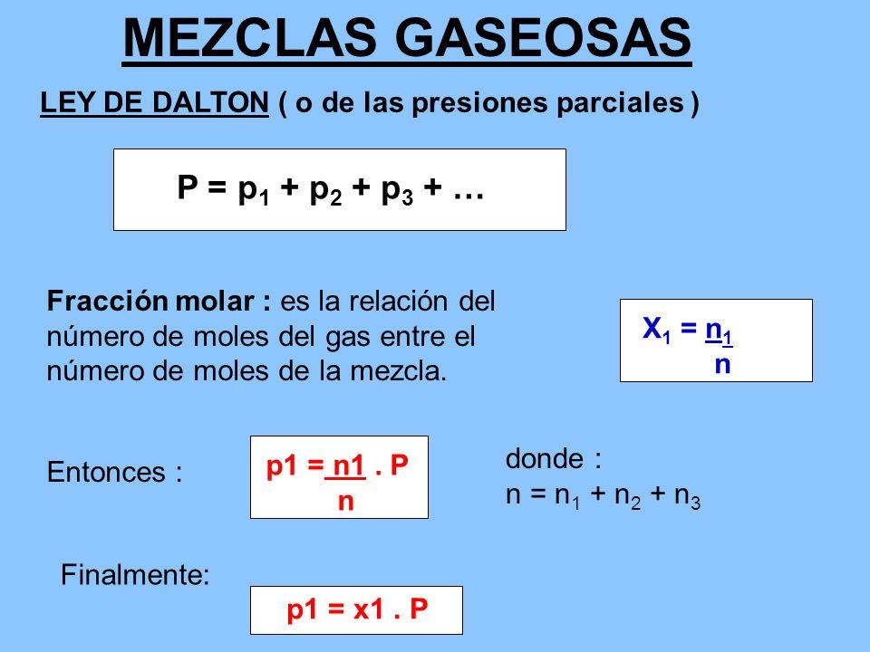 MEZCLAS GASEOSAS LEY DE DALTON ( o de las presiones parciales ) P = p 1 + p 2 + p 3 + … p1 = n1. P n donde : n = n 1 + n 2 + n 3 Fracción molar : es l
