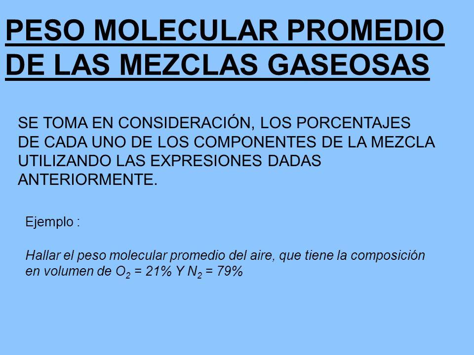 PESO MOLECULAR PROMEDIO DE LAS MEZCLAS GASEOSAS SE TOMA EN CONSIDERACIÓN, LOS PORCENTAJES DE CADA UNO DE LOS COMPONENTES DE LA MEZCLA UTILIZANDO LAS E