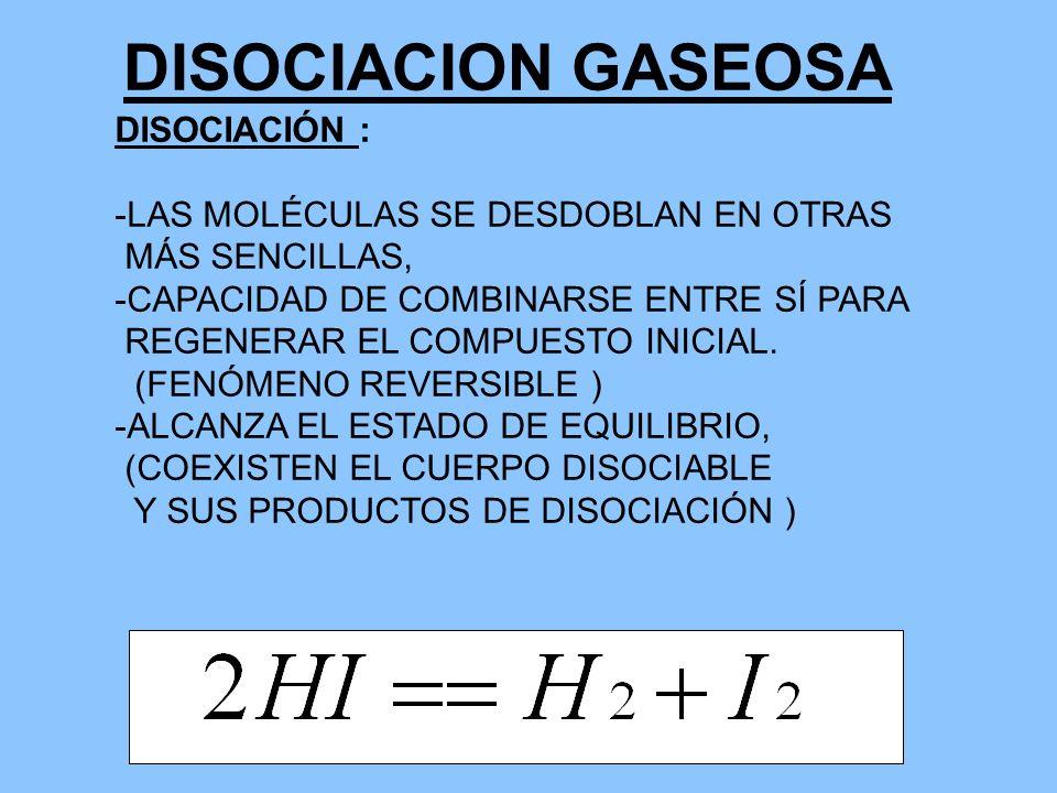 DISOCIACION GASEOSA DISOCIACIÓN : -LAS MOLÉCULAS SE DESDOBLAN EN OTRAS MÁS SENCILLAS, -CAPACIDAD DE COMBINARSE ENTRE SÍ PARA REGENERAR EL COMPUESTO IN