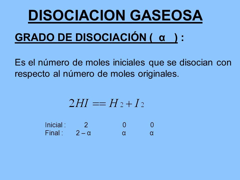 DISOCIACION GASEOSA GRADO DE DISOCIACIÓN ( α ) : Es el número de moles iniciales que se disocian con respecto al número de moles originales. Inicial :