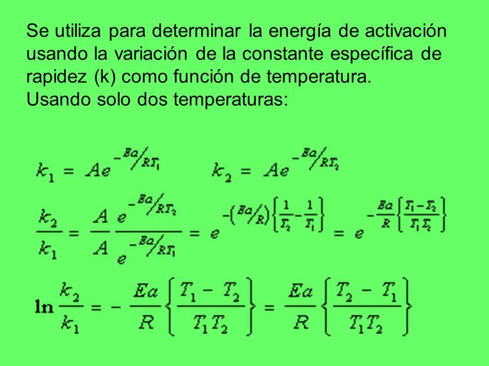 Se utiliza para determinar la energía de activación usando la variación de la constante específica de rapidez (k) como función de temperatura. Usando
