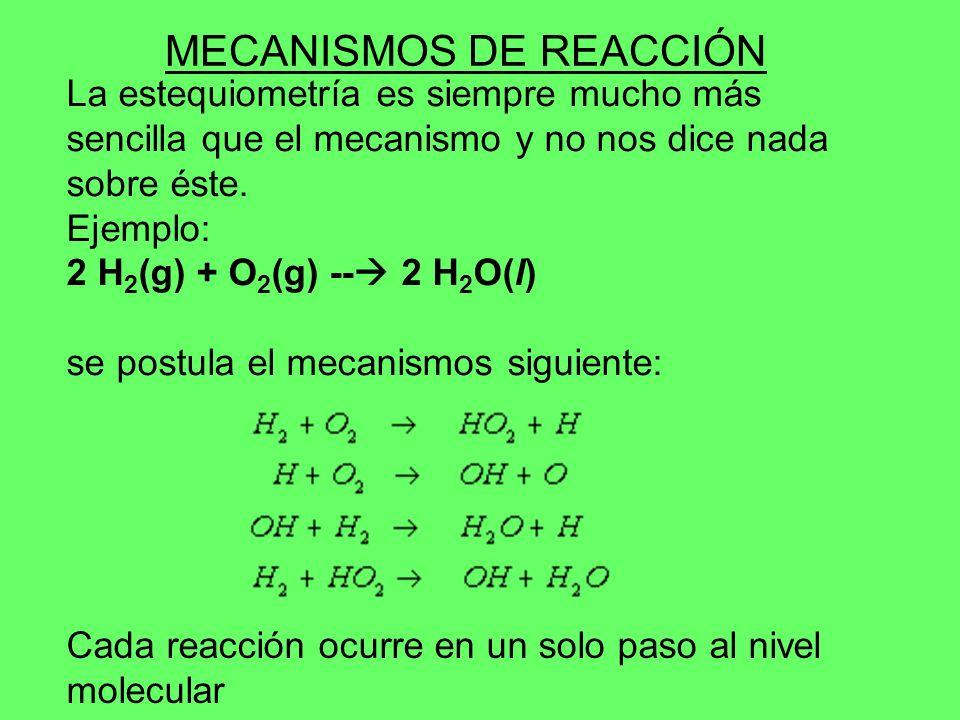 La estequiometría es siempre mucho más sencilla que el mecanismo y no nos dice nada sobre éste. Ejemplo: 2 H 2 (g) + O 2 (g) -- 2 H 2 O(l) se postula