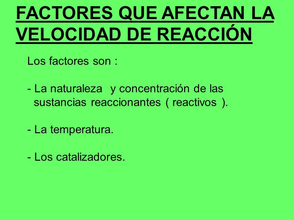 FACTORES QUE AFECTAN LA VELOCIDAD DE REACCIÓN Los factores son : - La naturaleza y concentración de las sustancias reaccionantes ( reactivos ). - La t