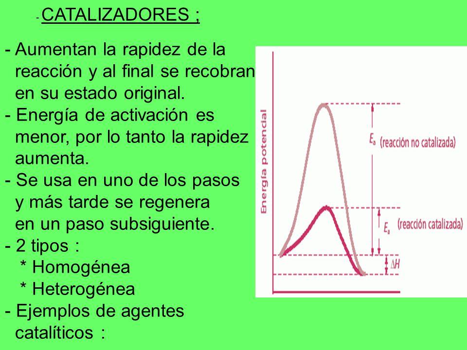 - Aumentan la rapidez de la reacción y al final se recobran en su estado original. - Energía de activación es menor, por lo tanto la rapidez aumenta.