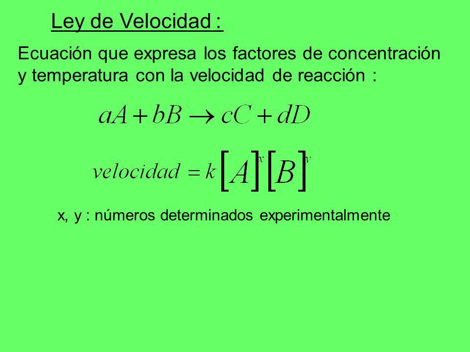 Ecuación que expresa los factores de concentración y temperatura con la velocidad de reacción : Ley de Velocidad : x, y : números determinados experim