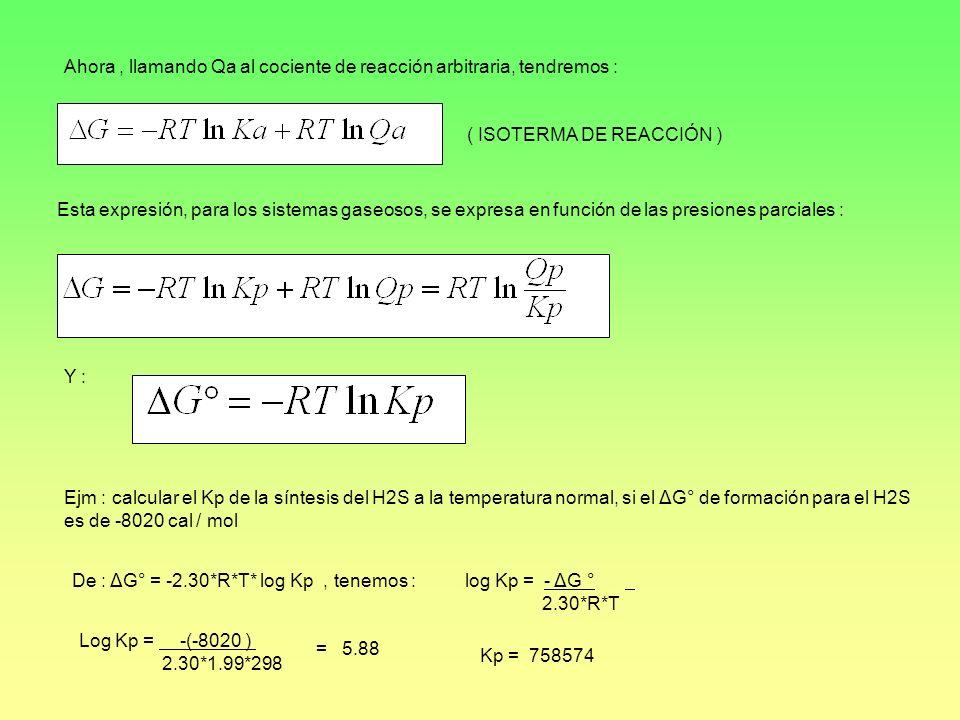 Ahora, llamando Qa al cociente de reacción arbitraria, tendremos : ( ISOTERMA DE REACCIÓN ) Esta expresión, para los sistemas gaseosos, se expresa en
