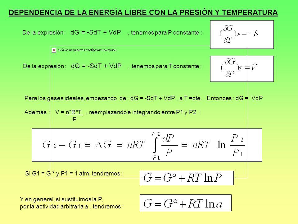 DEPENDENCIA DE LA ENERGÍA LIBRE CON LA PRESIÓN Y TEMPERATURA De la expresión : dG = -SdT + VdP, tenemos para P constante : De la expresión : dG = -SdT