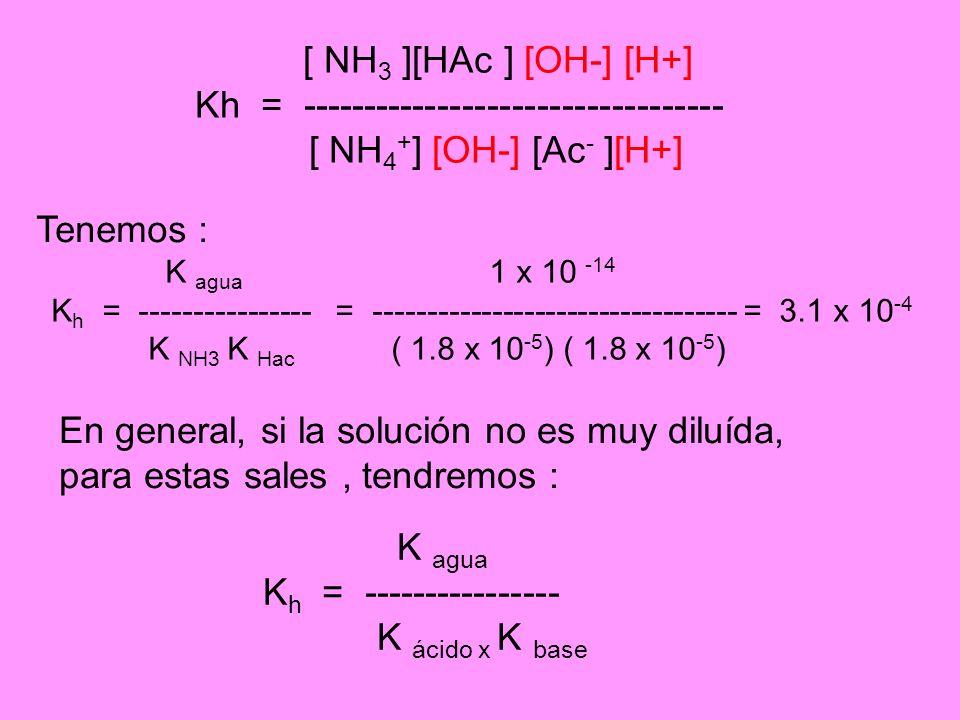 [ NH 3 ][HAc ] [OH-] [H+] Kh = ---------------------------------- [ NH 4 + ] [OH-] [Ac - ][H+] K agua 1 x 10 -14 K h = ---------------- = ------------