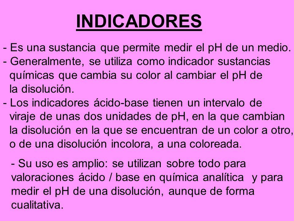 INDICADORES - Es una sustancia que permite medir el pH de un medio. - Generalmente, se utiliza como indicador sustancias químicas que cambia su color