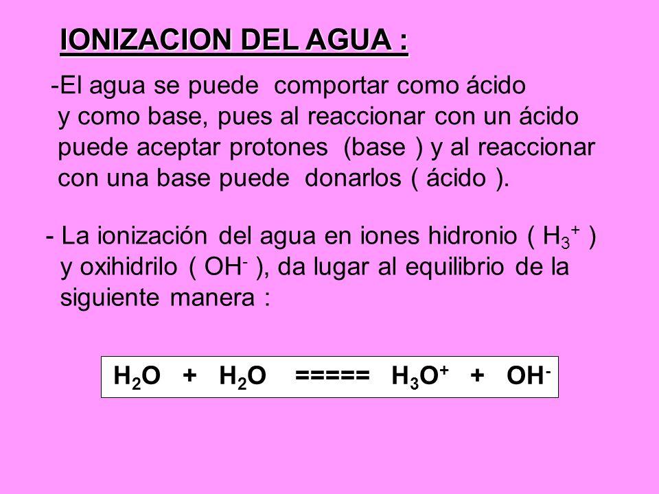 IONIZACION DEL AGUA : -El agua se puede comportar como ácido y como base, pues al reaccionar con un ácido puede aceptar protones (base ) y al reaccion