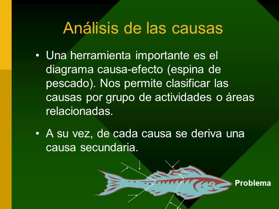 Análisis de las causas Una herramienta importante es el diagrama causa-efecto (espina de pescado). Nos permite clasificar las causas por grupo de acti