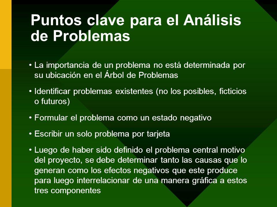 Puntos clave para el Análisis de Problemas La importancia de un problema no está determinada por su ubicación en el Árbol de Problemas Identificar pro