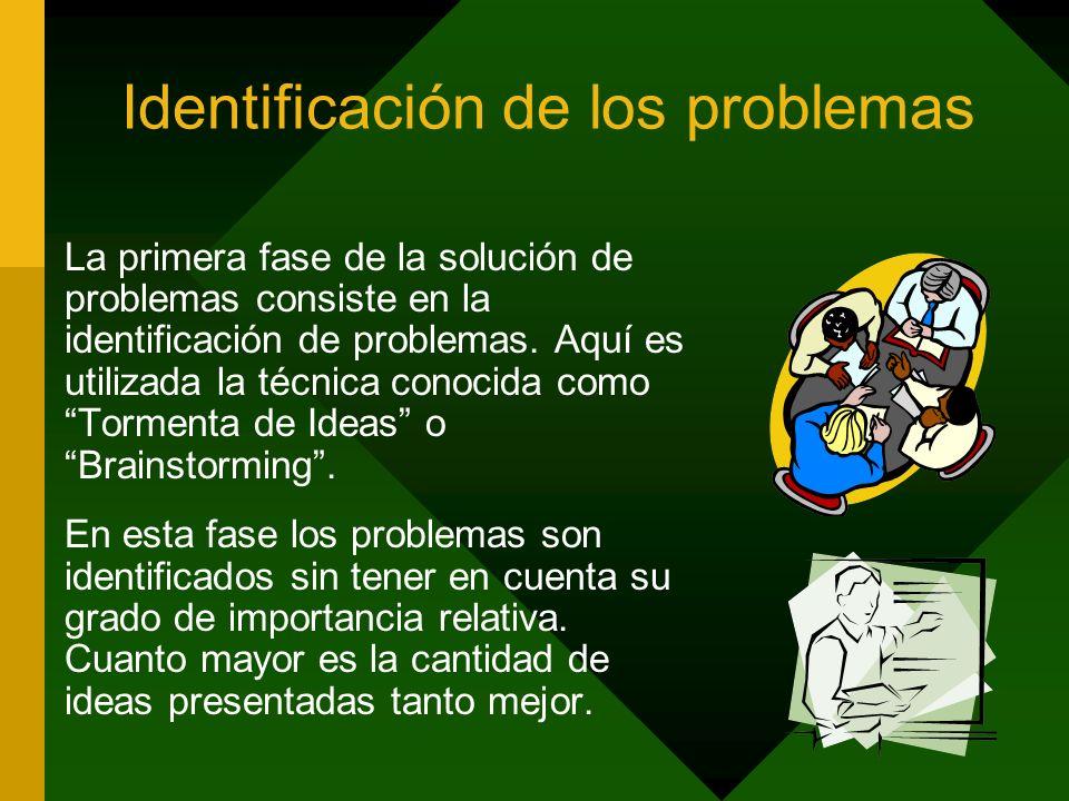 Identificación de los problemas La primera fase de la solución de problemas consiste en la identificación de problemas. Aquí es utilizada la técnica c