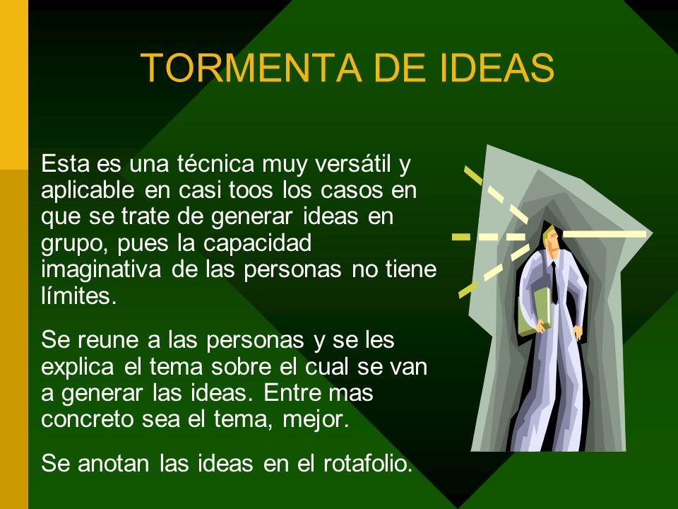 TORMENTA DE IDEAS Esta es una técnica muy versátil y aplicable en casi toos los casos en que se trate de generar ideas en grupo, pues la capacidad ima