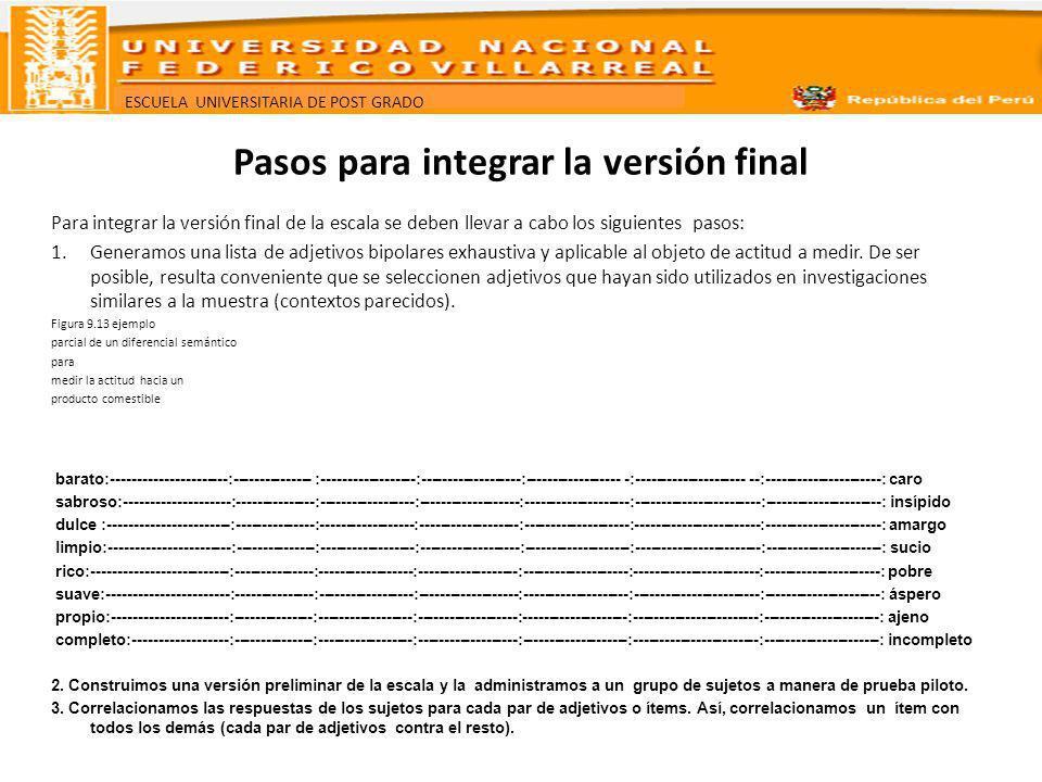 ESCUELA UNIVERSITARIA DE POST GRADO Pasos para integrar la versión final Para integrar la versión final de la escala se deben llevar a cabo los siguie