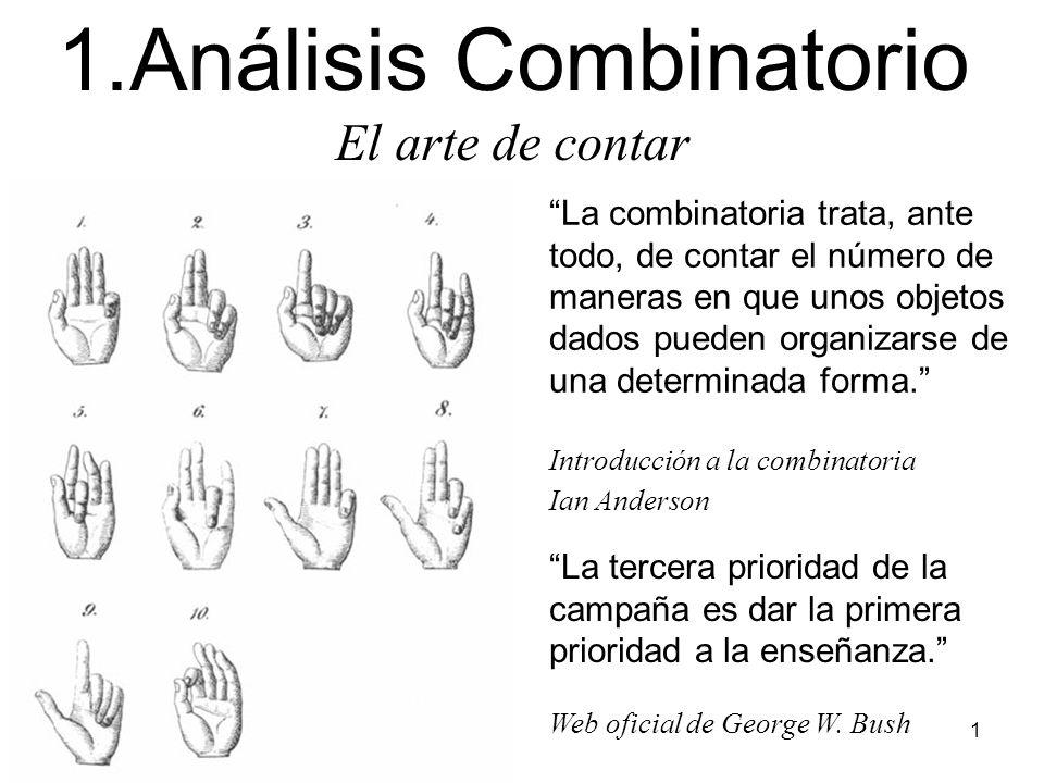 1 La combinatoria trata, ante todo, de contar el número de maneras en que unos objetos dados pueden organizarse de una determinada forma.
