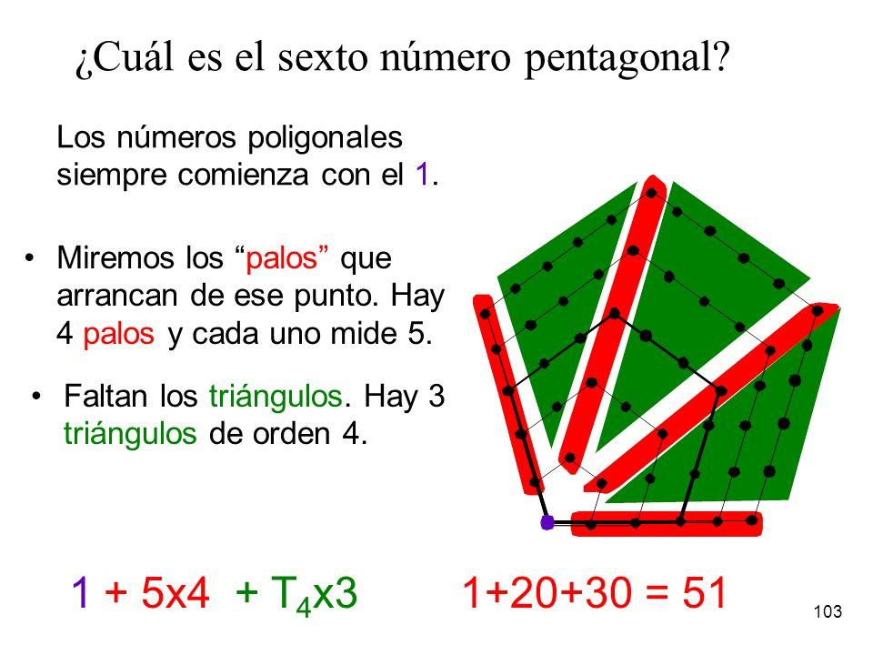 102 Números poligonales en general, números n-gonales Ejemplo, los número pentagonales son: 1, 5, 12, 22, …