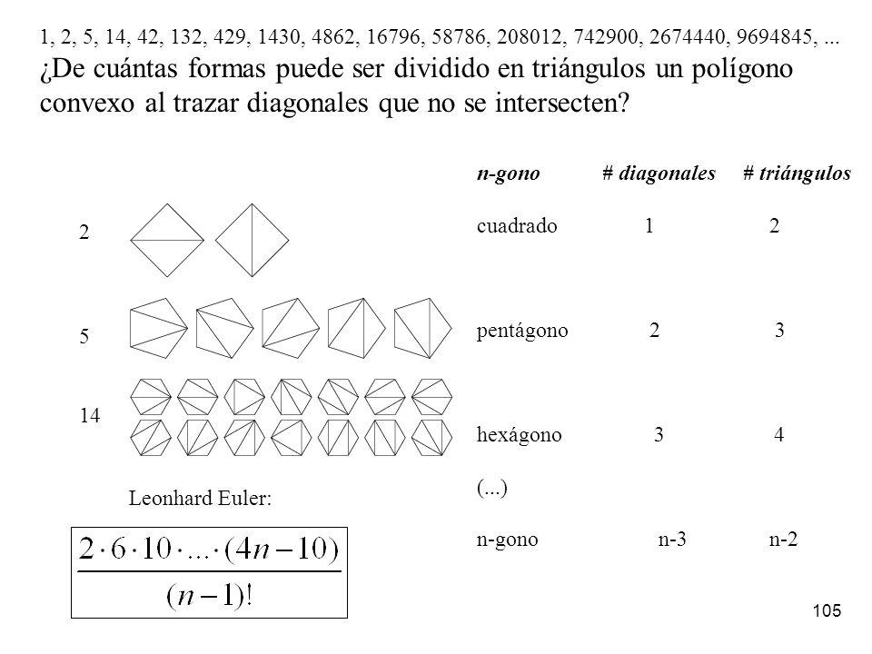 104 ¿Cuál es el k-ésimo número n-gonal? Los números n-gonales siempre comienza con el 1. 1+ (k-1) (n-1)+ T k-2 (n-2) Miremos los palos que arrancan de