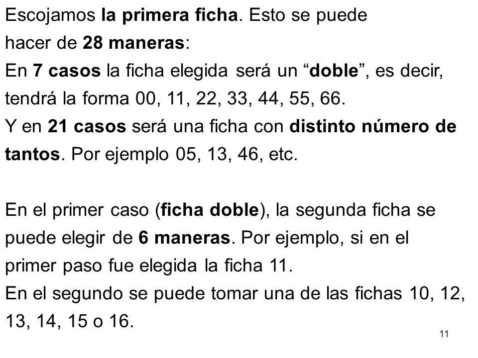 10 ¿De cuántas formas se pueden escoger dos fichas de dominó de las 28 que hay, teniendo en cuenta el orden, y de forma que se puedan aplicar una a la