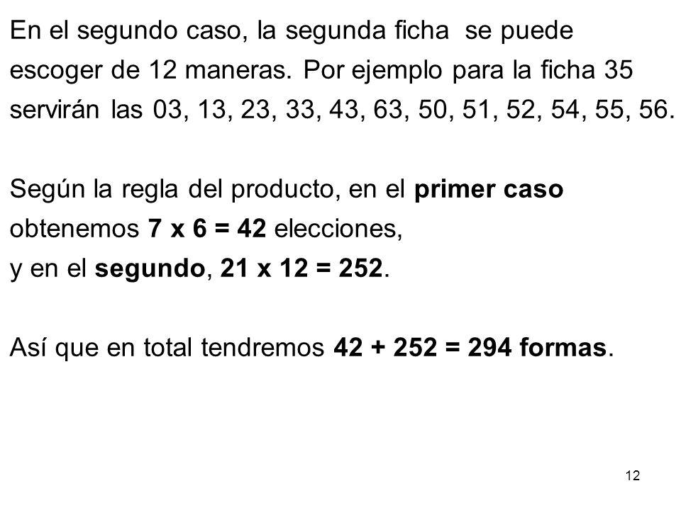 11 Escojamos la primera ficha. Esto se puede hacer de 28 maneras: En 7 casos la ficha elegida será un doble, es decir, tendrá la forma 00, 11, 22, 33,