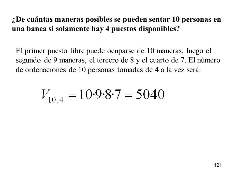 120 c) Análogamente a antes, el primer dígito se puede escoger de 9 maneras, el segundo de 9 y el tercero de 8. El cuarto, sin embargo, solo tiene una