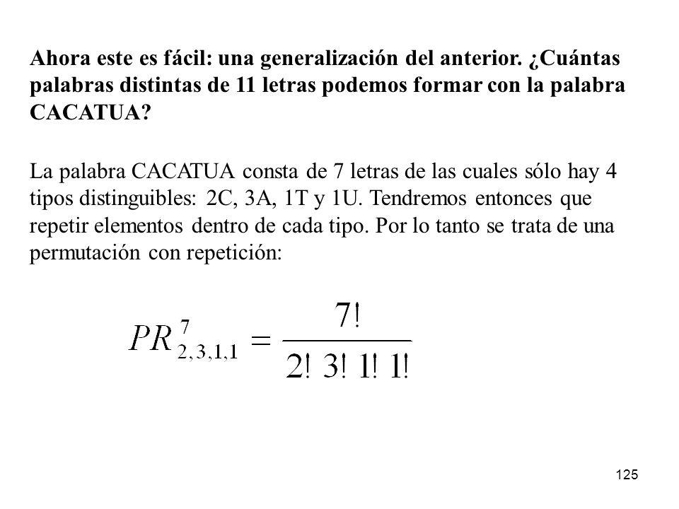124 ¿Cuántas permutaciones pueden formarse con las letras de la palabra BONDAD? Respuesta: 6!/2! ¿De dónde sale ese 2!? Supón que para distinguir la D