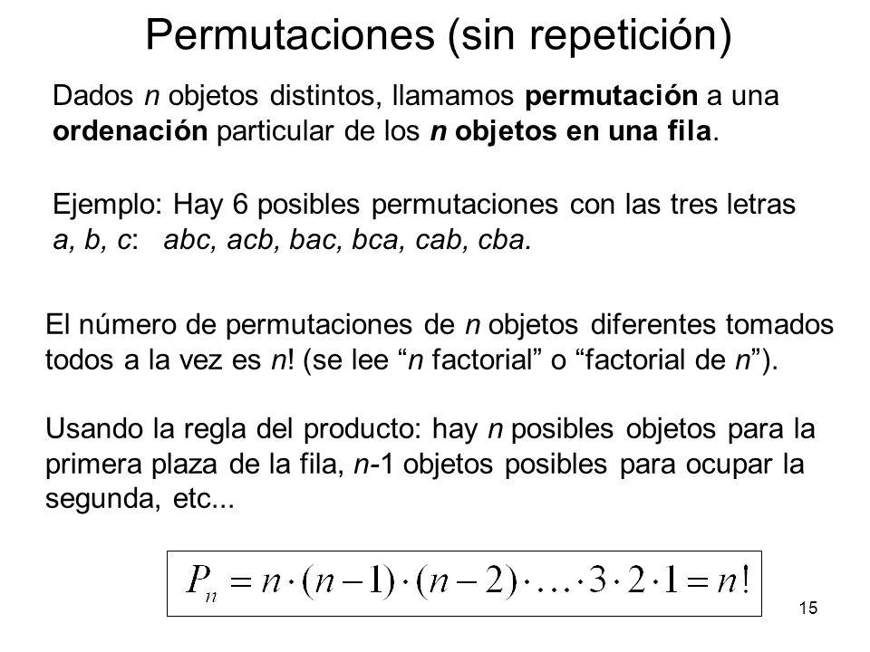 Ejemplo de Aplicación Conjunta: ¿De cuántas maneras distintas se puede ir de A hasta B? A CB Hay 3 caminos distintos para ir desde A hasta B sin pasar