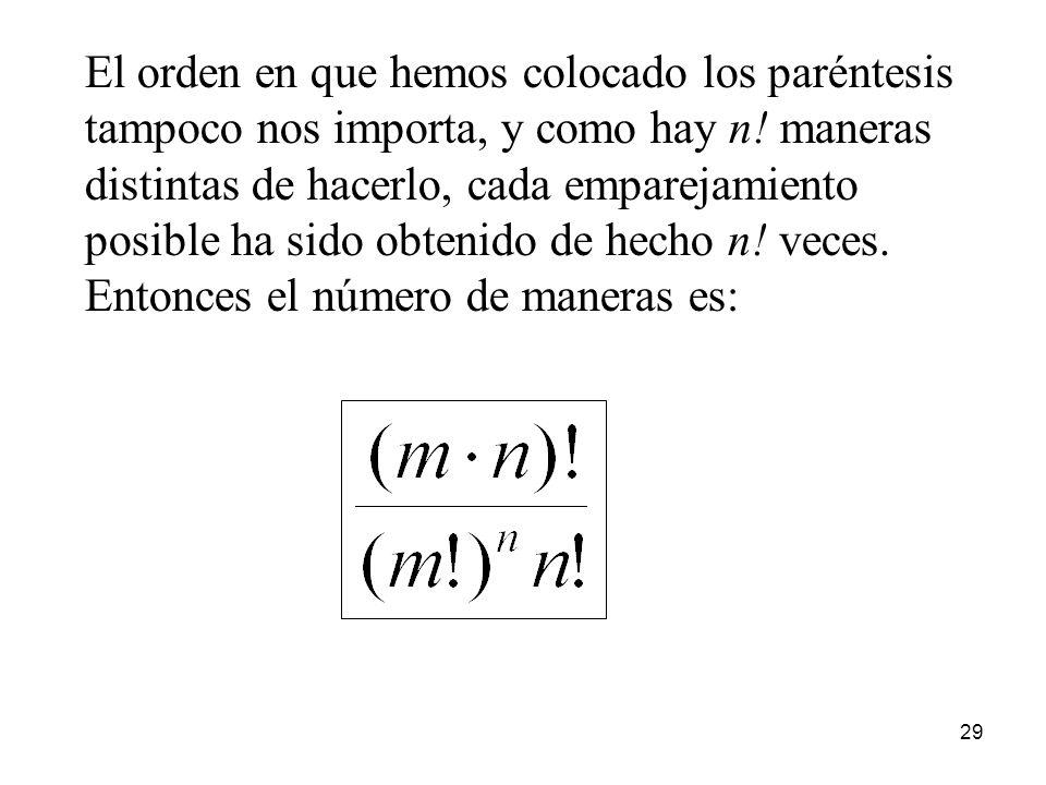 28 Generalicemos el problema: dados m·n objetos, ¿cuántas maneras hay de formar n conjuntos de m objetos? Agrupemos los m · n objetos usando n parénte