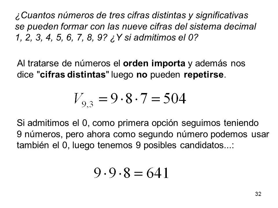 31 Variaciones (sin repetición) Según la regla del producto, las maneras de escoger r elementos distintos de entre un total de n según un determinado