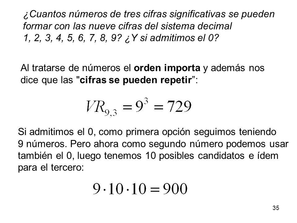 34 Variaciones con repetición Según la regla del producto, las maneras de escoger r elementos de entre un total de n según un determinado orden, y con