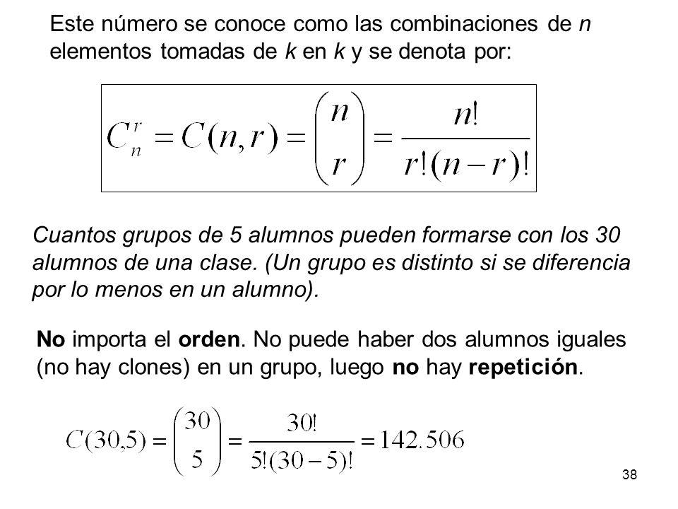 37 Combinaciones (sin repetición) ¿Cuántas posibles configuraciones de r elementos podemos construir desde un conjunto de n elementos diferentes, sin