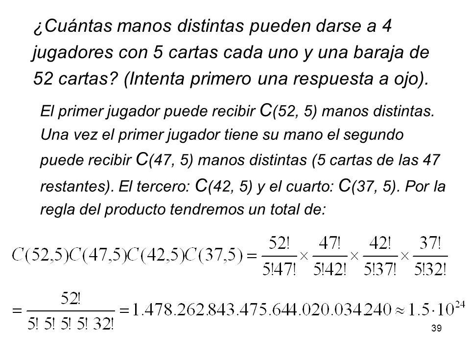38 Este número se conoce como las combinaciones de n elementos tomadas de k en k y se denota por: Cuantos grupos de 5 alumnos pueden formarse con los