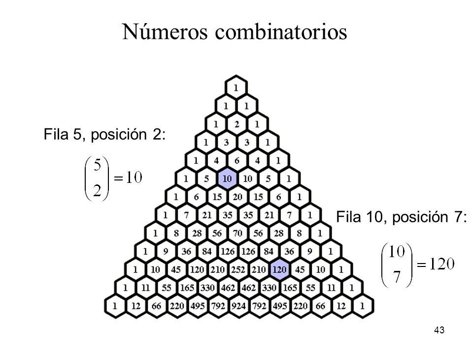 42 Ejemplo: para generar el 5º elemento en la fila #7, sumamos el 4 º y 5 º elemento en la fila #6. El triángulo de Pascal (o de Tartaglia)