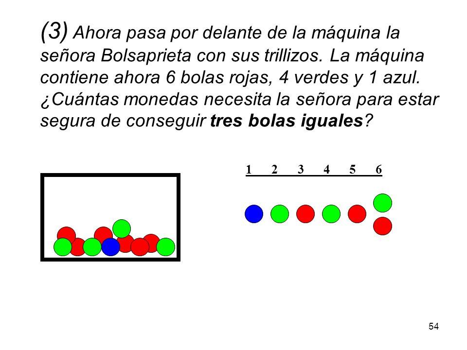 53 (2) Supongamos ahora que la máquina contiene 6 bolas rojas, 4 verdes y 5 azules. ¿Cuántas monedas necesita la señora Evita Gastos para estar segura