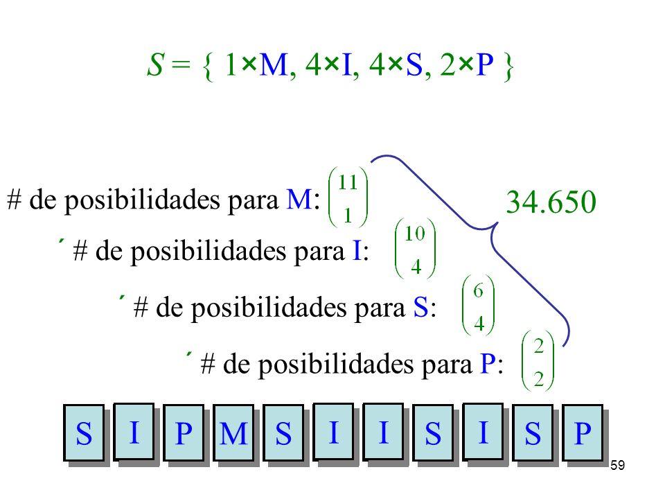 58 ¿Cuántas palabras distintas (con o sin sentido) podemos construir utilizando todas las letras de MISSISSIPPI ? S = { 1 M, 4 I, 4 S, 2 P } Llenemos
