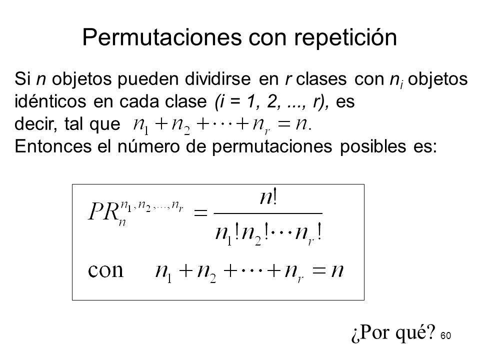 59 S = { 1 M, 4 I, 4 S, 2 P } M M # de posibilidades para M : I I I I I I I I # de posibilidades para I: S S S S S S S S # de posibilidades para S: P
