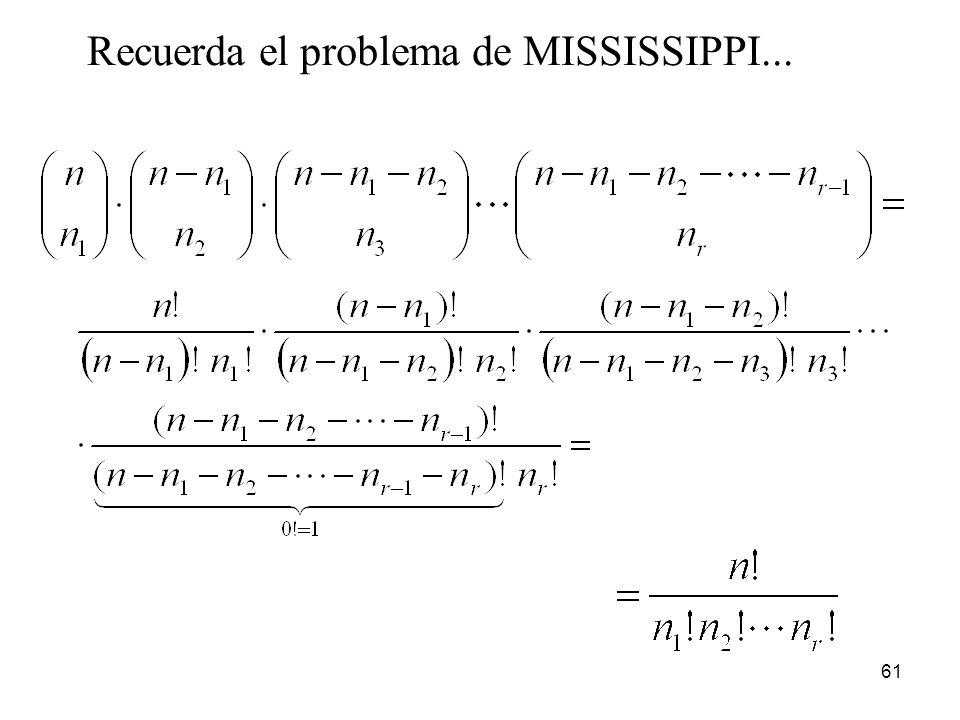 60 Permutaciones con repetición Si n objetos pueden dividirse en r clases con n i objetos idénticos en cada clase (i = 1, 2,..., r), es decir, tal que