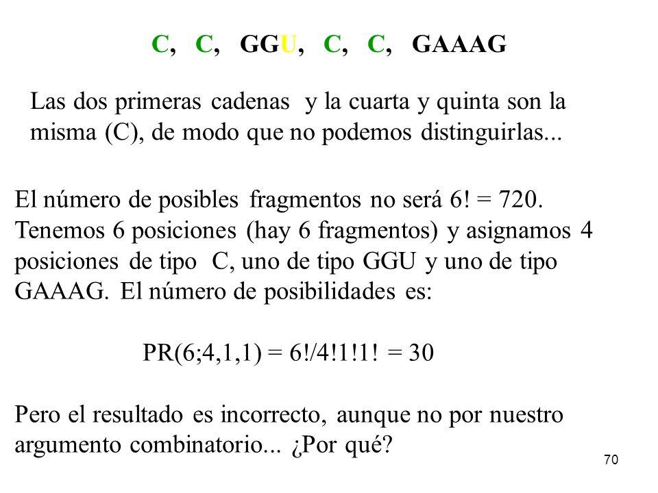 69 Cadena original: CCGGUCCGAAAG Supongamos que aplicamos las enzimas U y C. Dispondremos de los U,C-fragmentos: C, C, GGU, C, C, GAAAG ¿Cuántas caden