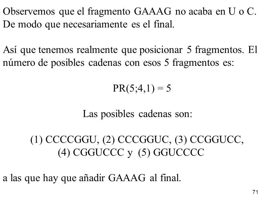 70 Las dos primeras cadenas y la cuarta y quinta son la misma (C), de modo que no podemos distinguirlas... El número de posibles fragmentos no será 6!