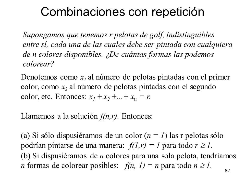 86 ¿De cuántas formas posibles podemos ordenar una baraja de n cartas? f(n) = n! Cuando encontramos soluciones como estas se denominan fórmulas cerrad