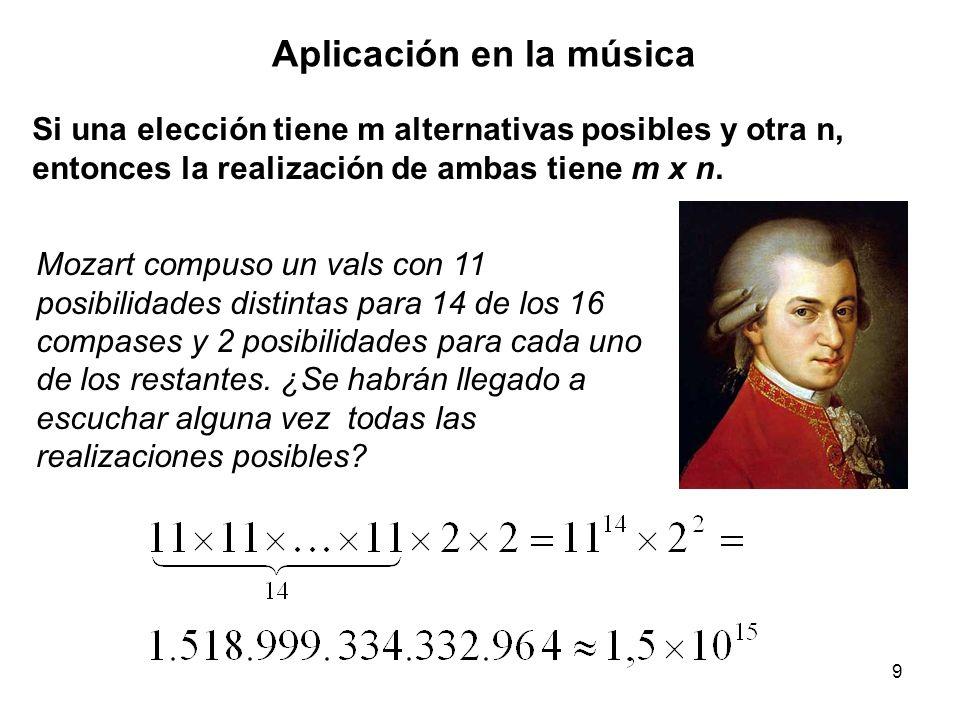 9 Aplicación en la música Si una elección tiene m alternativas posibles y otra n, entonces la realización de ambas tiene m x n.