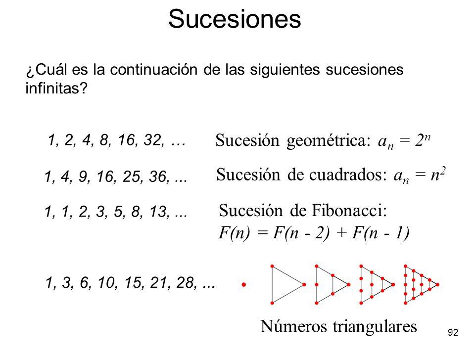 91 El triángulo de los números de Stirling: S(n, k) = S(n - 1, k - 1) + k S(n - 1, k) con S(n, 1) = 1 y S(n, n) = 1, para todo n 1. nS(n,1)S(n,2)S(n,3