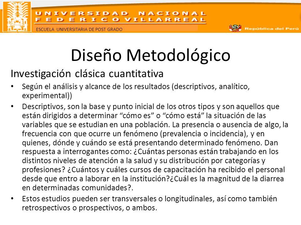 ESCUELA UNIVERSITARIA DE POST GRADO Diseño Metodológico Investigación clásica cuantitativa Según el análisis y alcance de los resultados (descriptivos